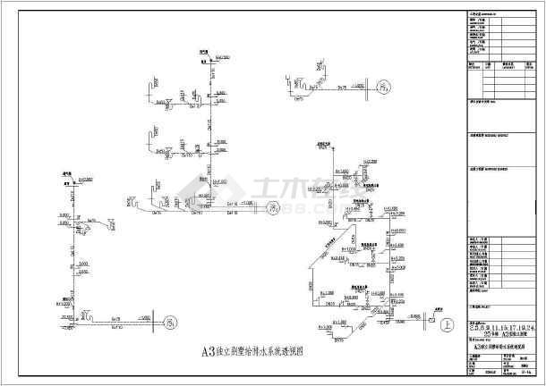 某地区独立别墅给排水设计CAD施工图-图3