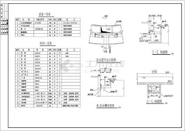 某地区给排水设计二沉池CAD施工图-图3