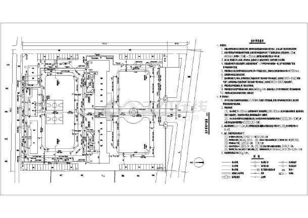 无锡某地区室外管网及锅炉房设计cad平面图cdr图展开绘制包装图片