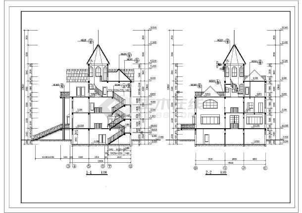 欧式风格赛架空层三层豪华别墅建筑设计图(全套)