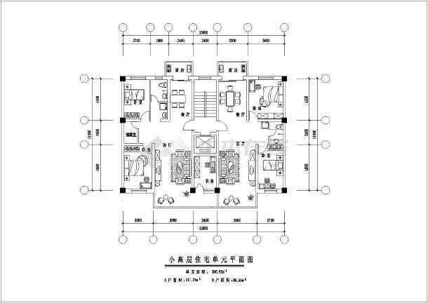 云南某地区9种多层住宅户型设计cad方案图纸