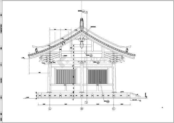寺庙主配套建筑建筑结构cad图纸(全套)