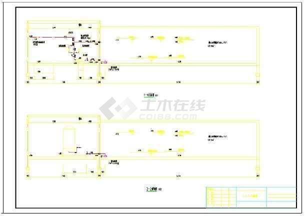 消防泵房平面图及剖面图-图1