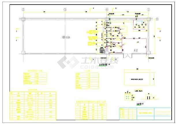 消防泵房平面图及剖面图-图2
