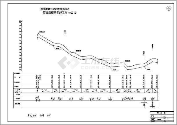 西安某地区排水工程纵断竣工设计CAD图-图3