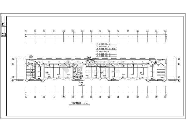 湖南某地区办公楼建筑设计CAD施工图-图3