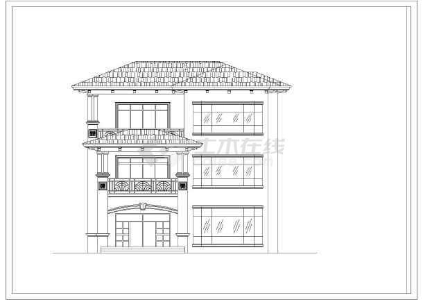 四川某地区三层别墅建筑设计CAD图-图1