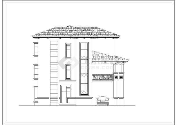 四川某地区三层别墅建筑设计CAD图-图2