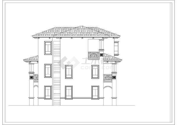 四川某地区三层别墅建筑设计CAD图-图3