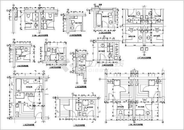 某地区商场卫生间设计施工CAD图纸-图1