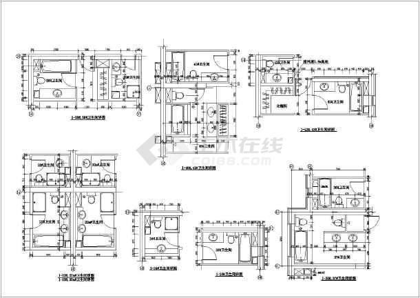 某地区商场卫生间设计施工CAD图纸-图2