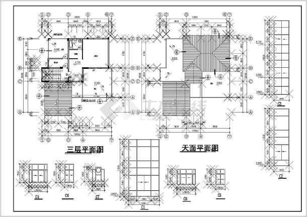 江西某地区山庄别墅建筑设计CAD平面布置图-图3