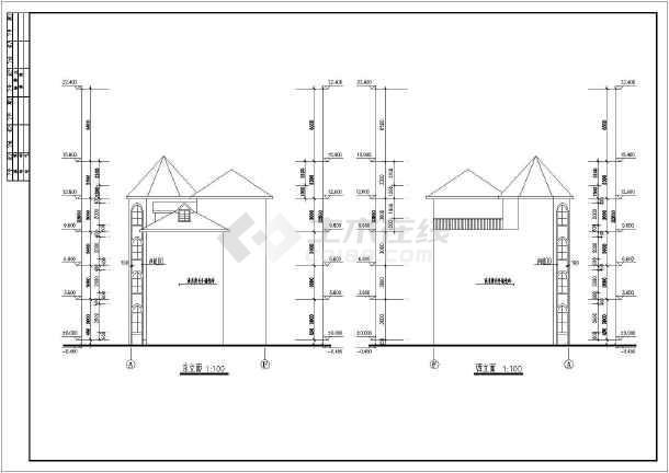 上海某地区复式别墅建筑设计CAD施工图(含设计说明)-图1