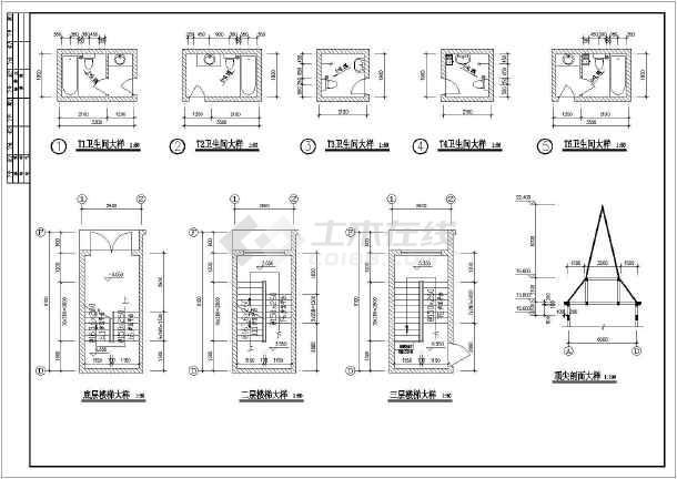 上海某地区复式别墅建筑设计CAD施工图(含设计说明)-图2