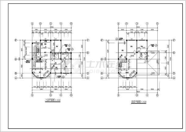 上海某地区复式别墅建筑设计CAD施工图(含设计说明)-图3