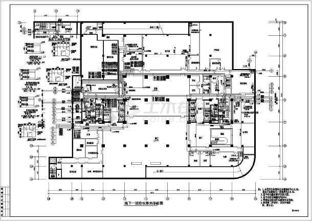 某地区办公楼给排水设计CAD施工图-图3
