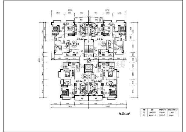 某大型多层住宅楼找到户型cad设计图那里面能建筑房屋设计图