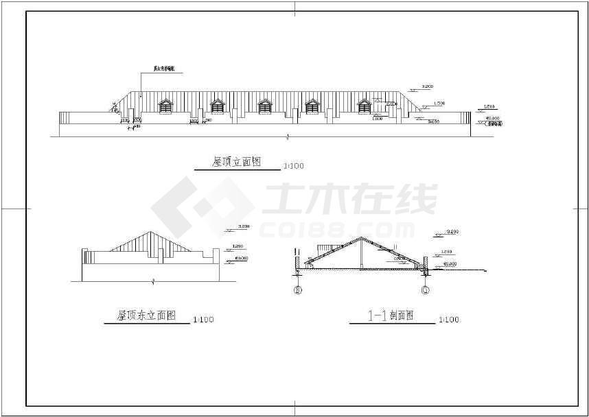改坡屋面设计施工图    某办公楼平屋面改坡屋面,钢结构,屋顶用彩钢板