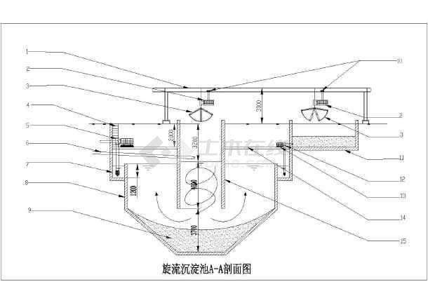 某给排水设计旋流沉淀池结构大样图