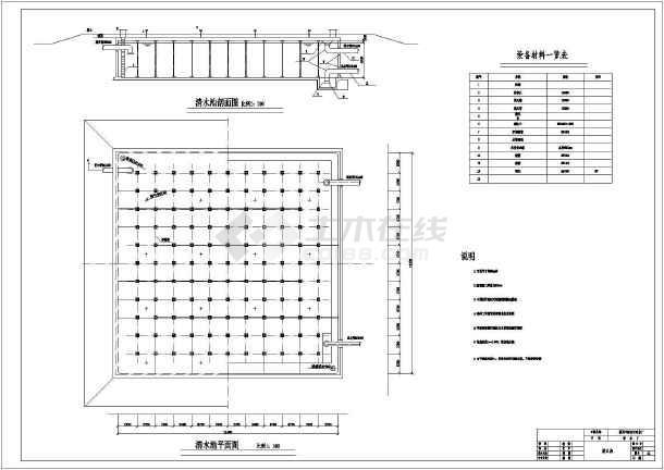 某地区小型清水池结构设计CAD施工图