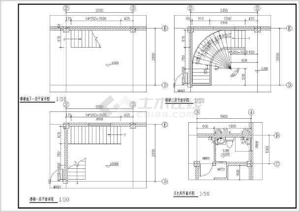 某工程旋转楼梯建筑结构设计图