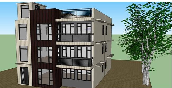 三层别墅建筑su模型-图1