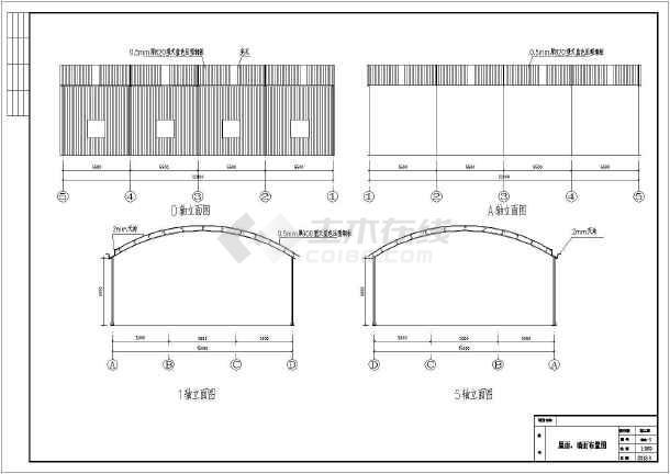 圆弧厂房结构设计cad施工图纸