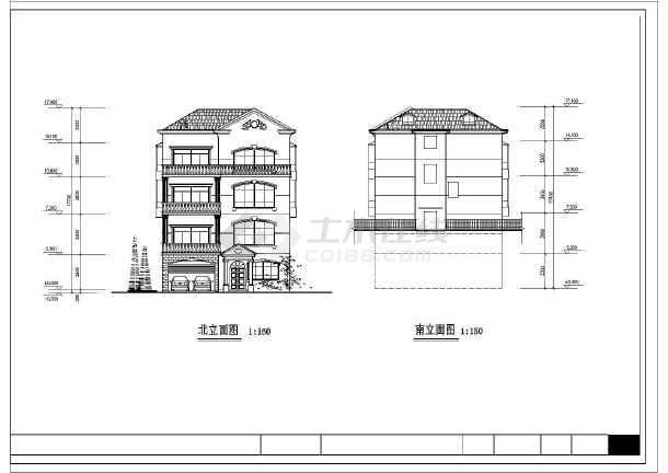 带小院四层独栋房屋详细建筑设计图
