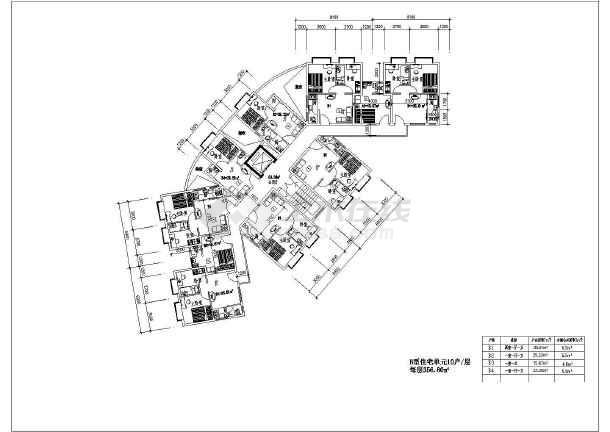 湖南省某城镇住宅小户型cad平面图