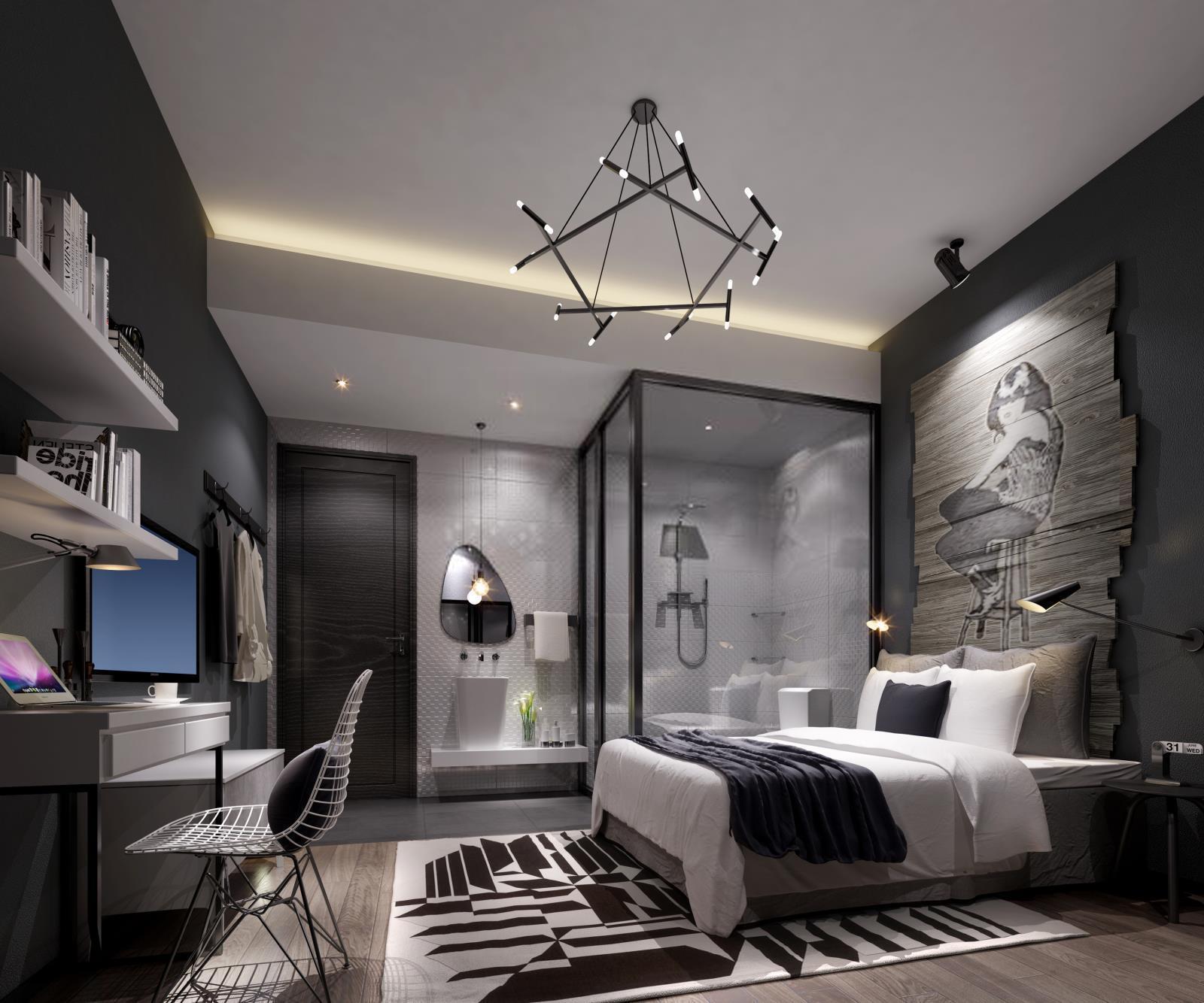 工业风卧室3d模型下载
