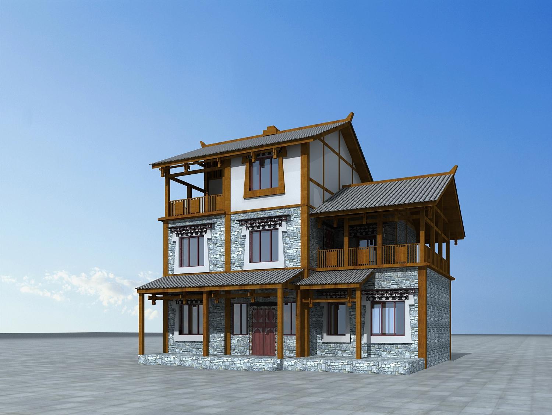 藏式别墅建筑3d模型下载图片