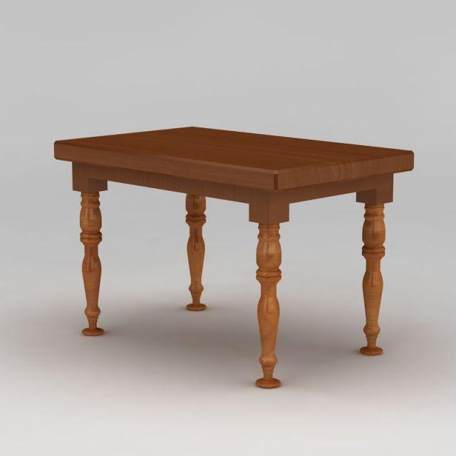 欧式长方形木桌3d模型下载