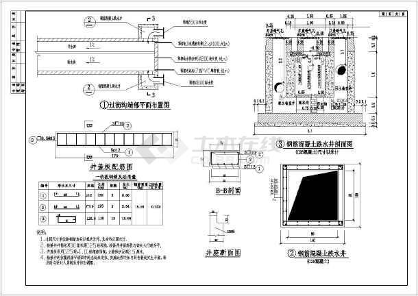 重庆某市政道路给排水管网施工CAD图-图1