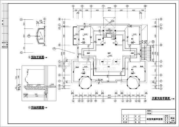 宫殿式带夹层豪华二层半别墅详细建筑设计图图片