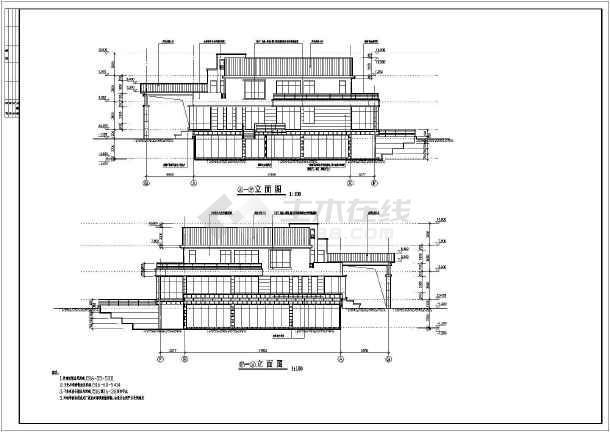 带地下游泳池旋转楼梯豪华二层别墅建筑设计图图片