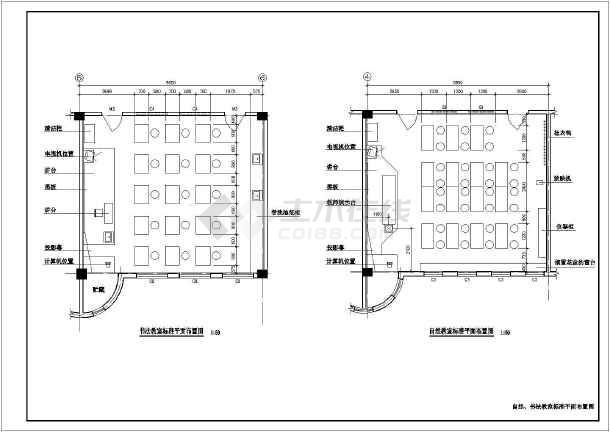 某地区某小学教学楼各教室平面布置cad设计图纸图片1