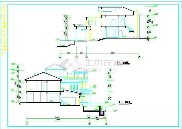 框架结构二层坡屋顶带泳池别墅建筑cad建筑设计图