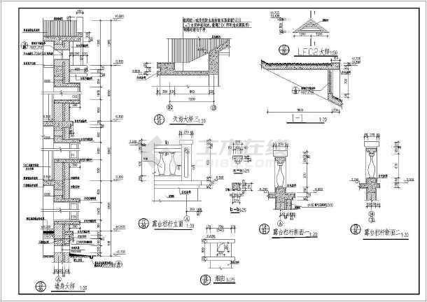 带旋转楼梯3户联排别墅建筑设计施工图(全套)