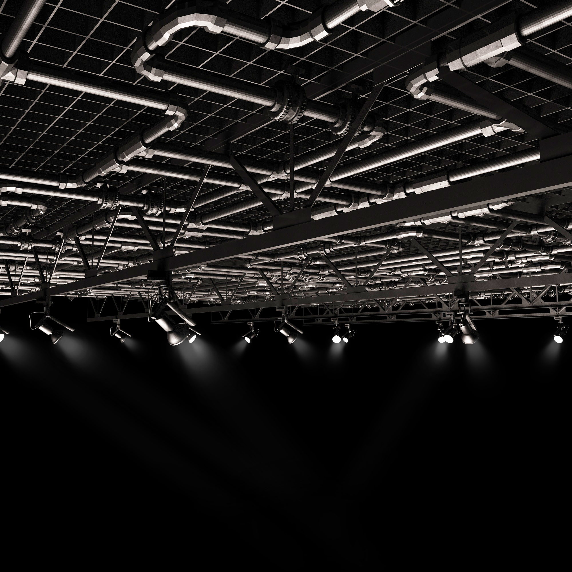 工业风格吊顶3d模型下载-图1