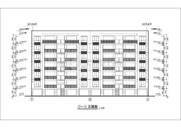 某地七层单元式住宅楼建筑施工设计图