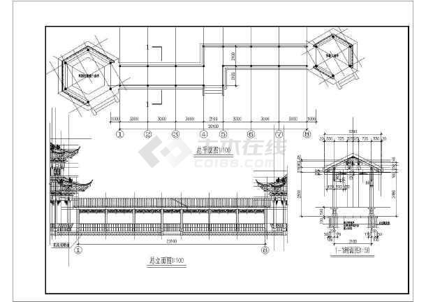某地区廊亭古建筑设计规划施工图纸图片