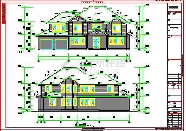 二层木结构别墅建筑设计图(含结构图,大样图,电气图)