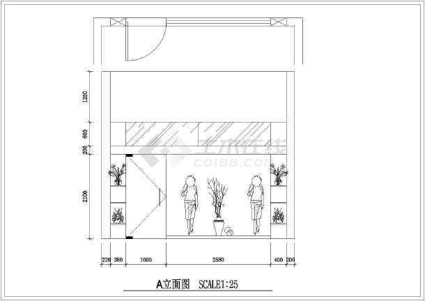 小型服装店室内装修设计cad平面施工图大样图