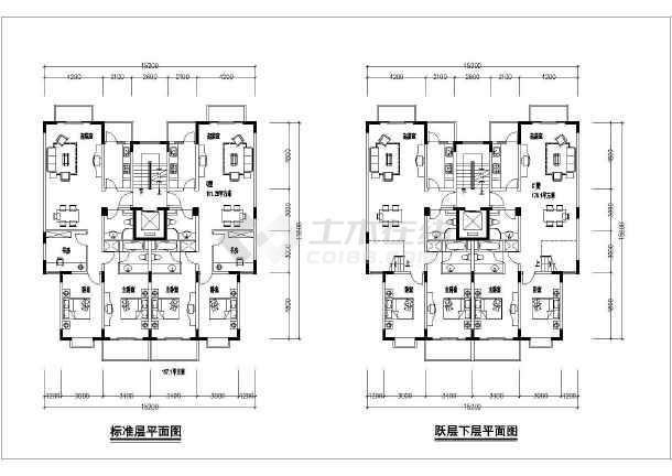 湖南省某城市高层住宅小区平面户型图
