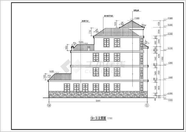 带旋转楼梯豪华中空四层自建别墅详细建筑设计图图片