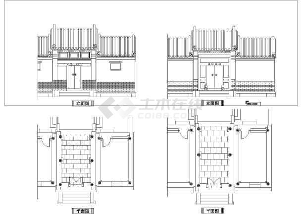 四川省某城市中式古典大门平立面设计图