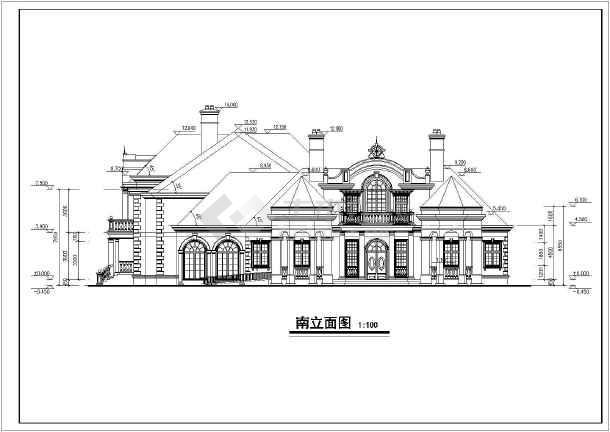 图纸法式别墅建筑施工景观(含效果图、图纸)_布置别墅二层cad模型图片