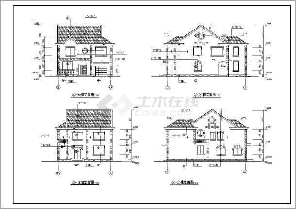 新中式3层独栋几何建筑施工图纸图纸龙别墅纹身图片
