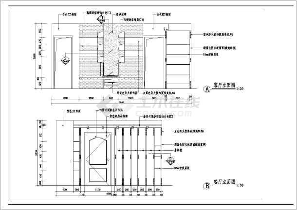 厅住宅室内装修cad平面布置施工图纸