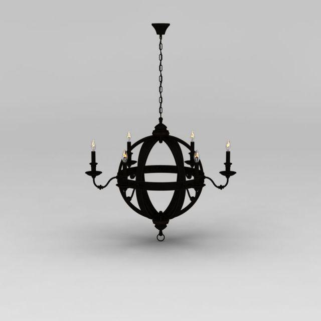 古典铁艺圆环球形吊灯3d模型下载